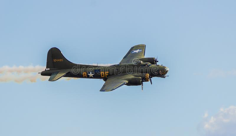 B17 Flying Fortress. Low pass at Duxford Air Show royalty free stock photo