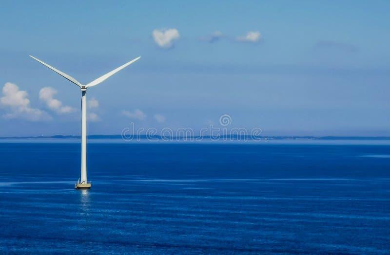 Wind turbine. Located in the sea, photo taken in denmark royalty free stock photo