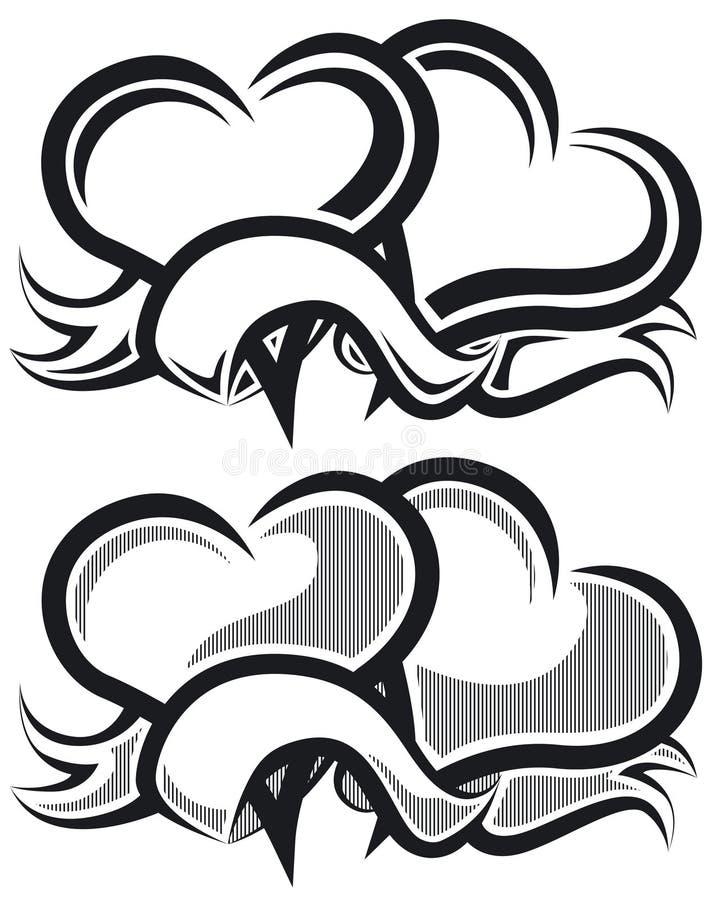 b-hjärtor två w royaltyfri illustrationer