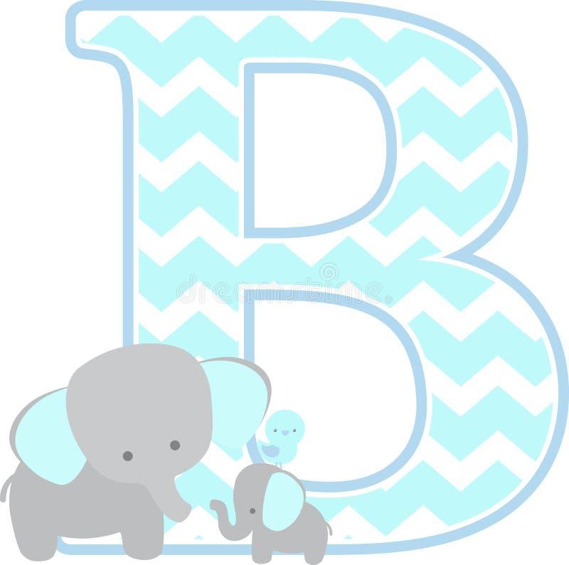B initial avec l'éléphant mignon et le petit éléphant de bébé illustration libre de droits