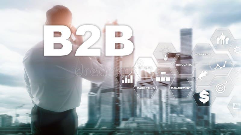 B2B interempresarial - futuro de la tecnología Modelo comercial Concepto financiero de la tecnología y de la comunicación ilustración del vector