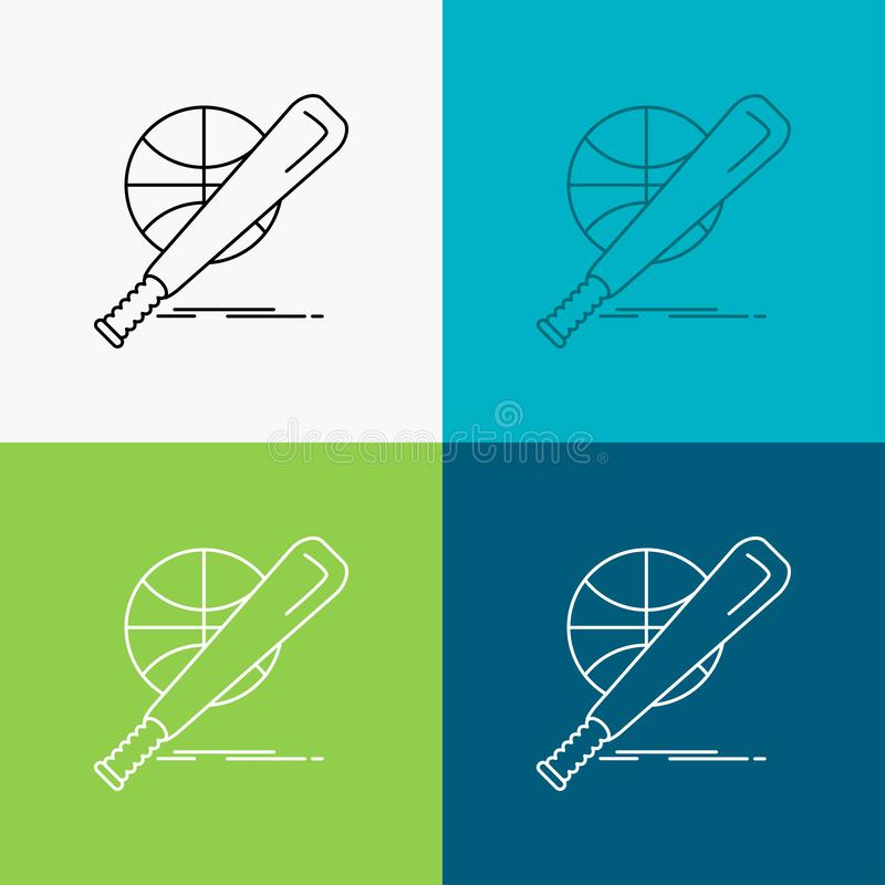 b?isbol, cesta, bola, juego, icono de la diversi?n sobre diverso fondo L?nea dise?o del estilo, dise?ado para la web y el app Vec libre illustration