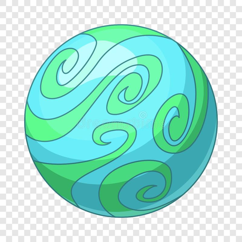 B??kitna abstrakcjonistyczna planety ikona, kresk?wka styl ilustracji