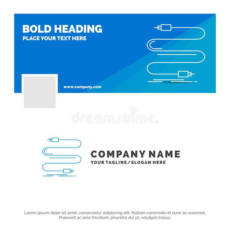 B??kitny Biznesowy logo szablon dla audia, kabel, sznur, d?wi?k, drut Facebook linia czasu sztandaru projekt wektorowy sie? sztan ilustracja wektor
