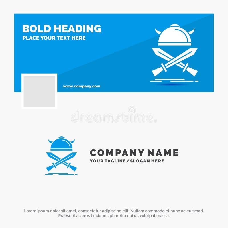 B??kitny Biznesowy logo szablon dla bitwy, emblemat, Viking, wojownik, kordziki Facebook linia czasu sztandaru projekt 10 sztanda ilustracji