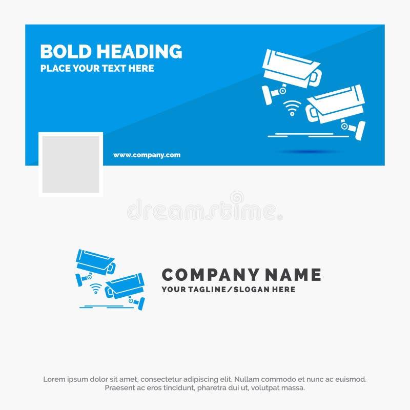 B??kitny Biznesowy logo szablon dla CCTV, kamera, ochrona, inwigilacja, technologia Facebook linia czasu sztandaru projekt Wektor ilustracji