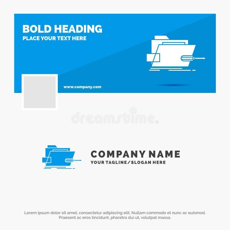 B??kitny Biznesowy logo szablon dla falc?wki, naprawa, skrewdriver, technika, techniczna Facebook linia czasu sztandaru projekt 1 ilustracji