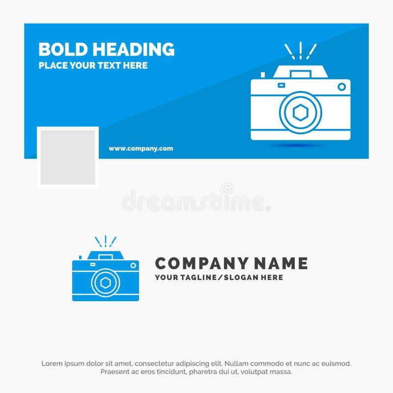 B??kitny Biznesowy logo szablon dla kamery, fotografia, zdobycz, fotografia, apertura Facebook linia czasu sztandaru projekt 10 s ilustracji