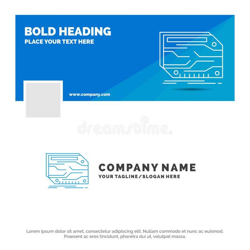 B??kitny Biznesowy logo szablon dla karty, sk?adnik, zwyczaj, elektroniczny, pami?? Facebook linia czasu sztandaru projekt 10 szt royalty ilustracja