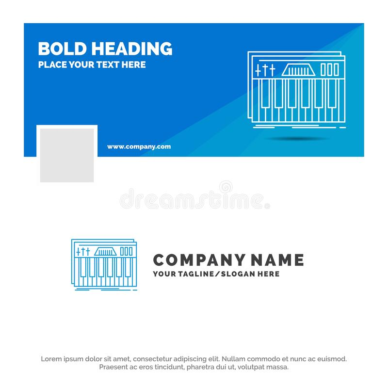 B??kitny Biznesowy logo szablon dla kontrolera, klawiatura, klucze, Midi, d?wi?k Facebook linia czasu sztandaru projekt 10 sztand ilustracji