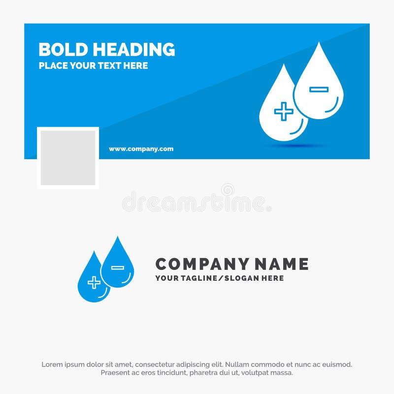 B??kitny Biznesowy logo szablon dla krwi, kropla, ciecz, Plus, Minus Facebook linia czasu sztandaru projekt wektorowy sie? sztand royalty ilustracja