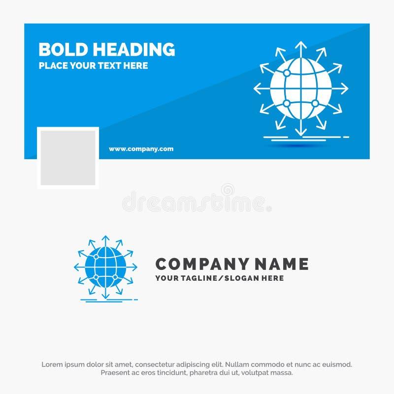 B??kitny Biznesowy logo szablon dla kuli ziemskiej, sie?, strza?a, wiadomo??, na ca?ym ?wiecie Facebook linia czasu sztandaru pro royalty ilustracja