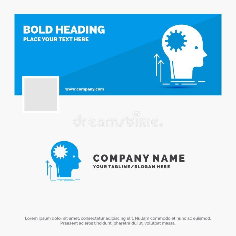 B??kitny Biznesowy logo szablon dla umys?u, Kreatywnie, g??wkowanie, pomys?, brainstorming Facebook linia czasu sztandaru projekt ilustracja wektor