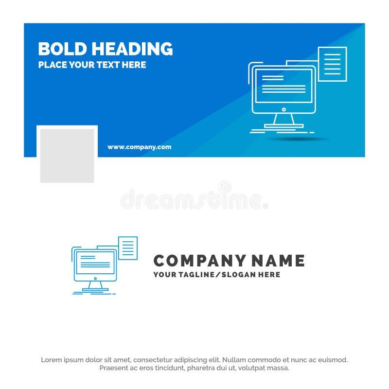 B??kitny Biznesowy logo szablon dla ?yciorysu, magazyn, druk, cv, dokument Facebook linia czasu sztandaru projekt 10 sztandaru dz royalty ilustracja