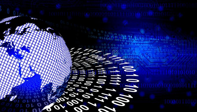 b??kitny dane cyfrowe orbity ?wiatowa sieci technologia Technologii komunikacja ilustracji