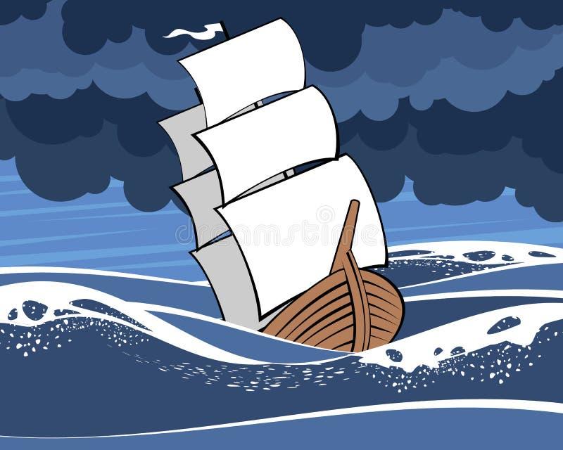 b??kitny denny statek ilustracja wektor