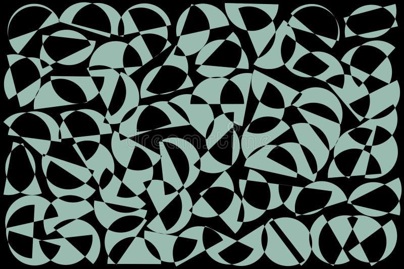B??kitny i czarny przypadkowy p??kola t?o Abstrakcjonistyczny geometryczny kszta?ta wz?r w retro stylu dla tkanina druku, tkanina royalty ilustracja