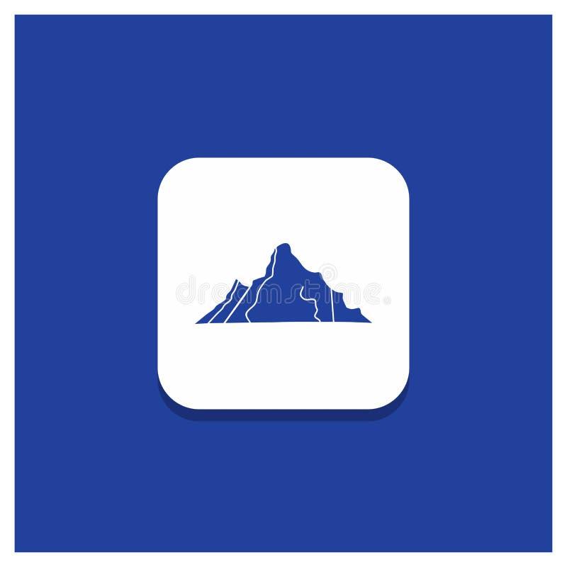 B??kitny Round guzik dla wzg?rza, krajobraz, natura, g?ra, scena glifu ikona ilustracja wektor