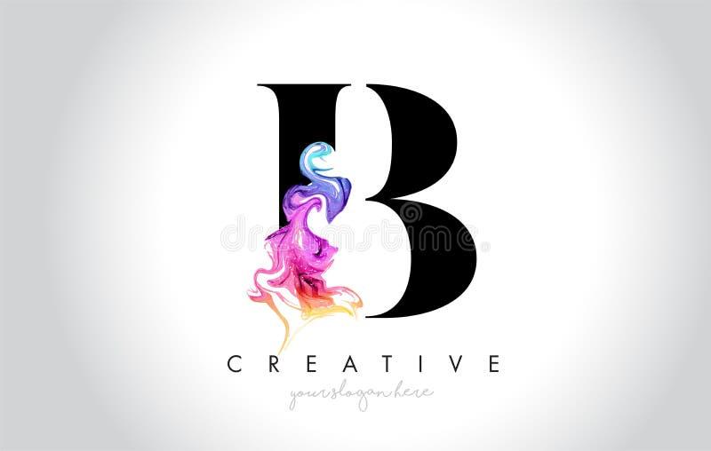 B Leter criativo vibrante Logo Design com tinta colorida Flo do fumo ilustração royalty free