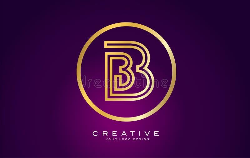 B Letter Monogram Logo Design. Modern B Icon With Creative Beautiful Purple Black Monogram. B Letter Gold Logo Design. Modern B Icon With Creative Golden stock illustration