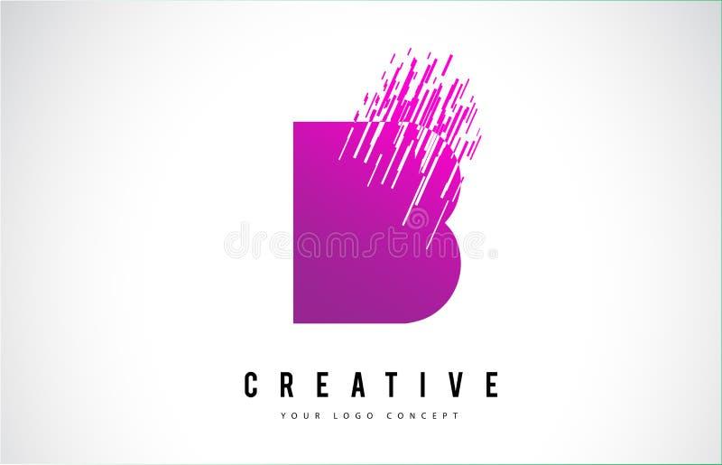 B Letter Logo Design with Purple Colors stock illustration