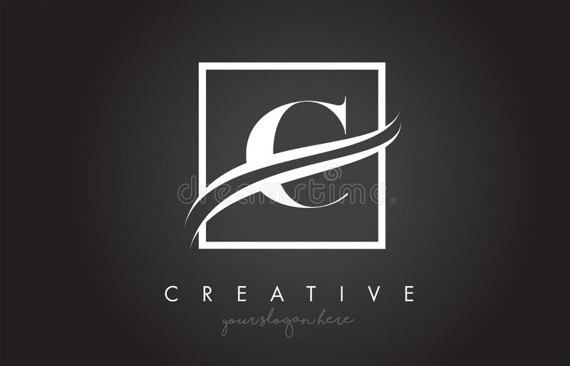 C Letter Logo Design with Square Swoosh Border and Creative Icon Design royalty free illustration