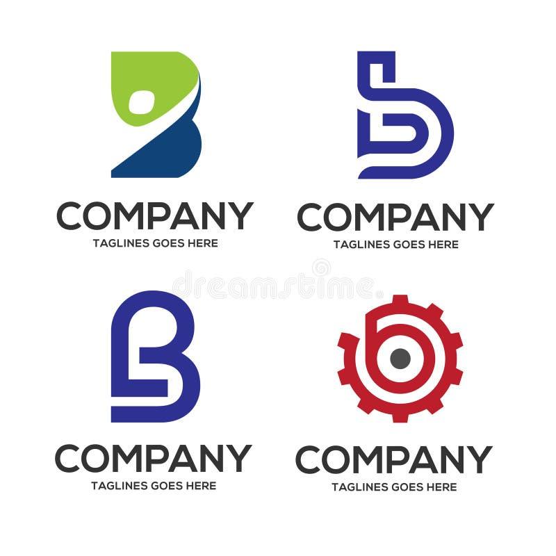 B letter logo design vector illustration logo set royalty free illustration