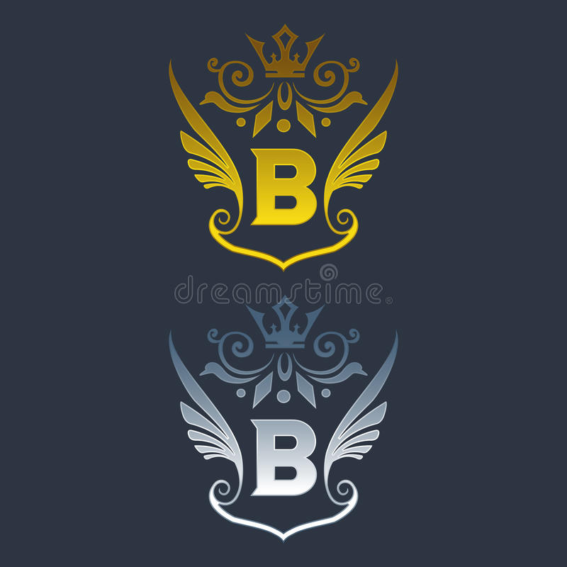 B letter logo. Silver and gold wings symbol. Silver A letter logo template for air company.eps8,eps10 stock illustration