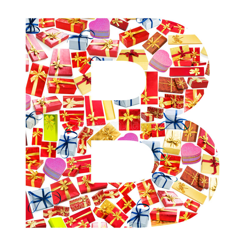Download B Letter  Made Of Giftboxes Stock Photo - Image: 24457258