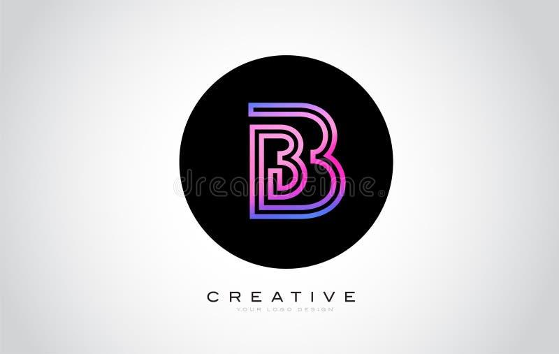 B Letter Monogram Logo Design. Modern B Icon With Creative Beautiful Purple Black Monogram. Design royalty free illustration