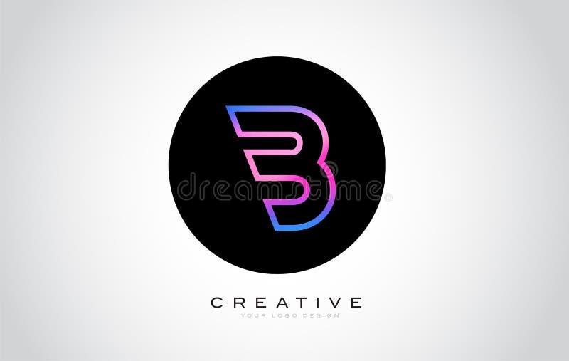 B Letter Monogram Logo Design. Modern B Icon With Creative Beautiful Purple Black Monogram. Design stock illustration
