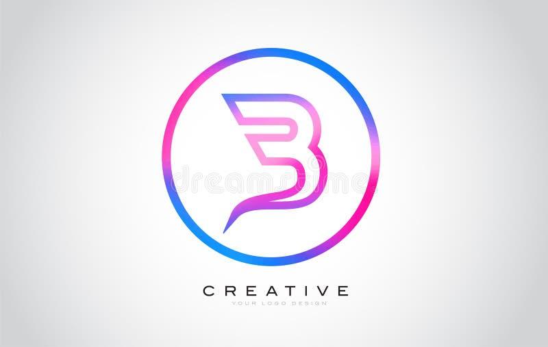 B Letter Monogram Logo Design. Modern B Icon With Creative Beautiful Purple Black Monogram. Design vector illustration
