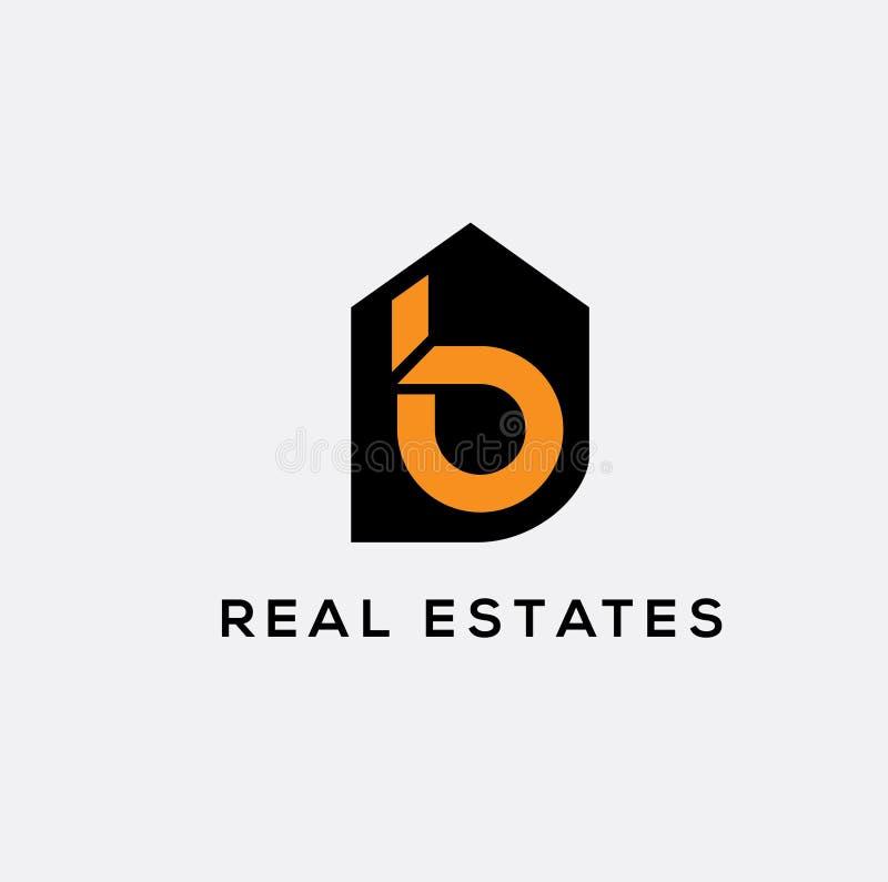 B letter real estates logo. House vector logo vector illustration