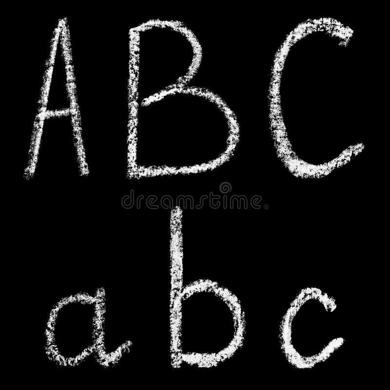 A, b, lettere bianche scritte a mano del gesso di c isolate su fondo nero illustrazione di stock