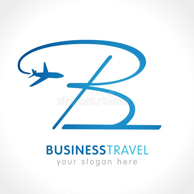 B lettering logo airplane stock illustration