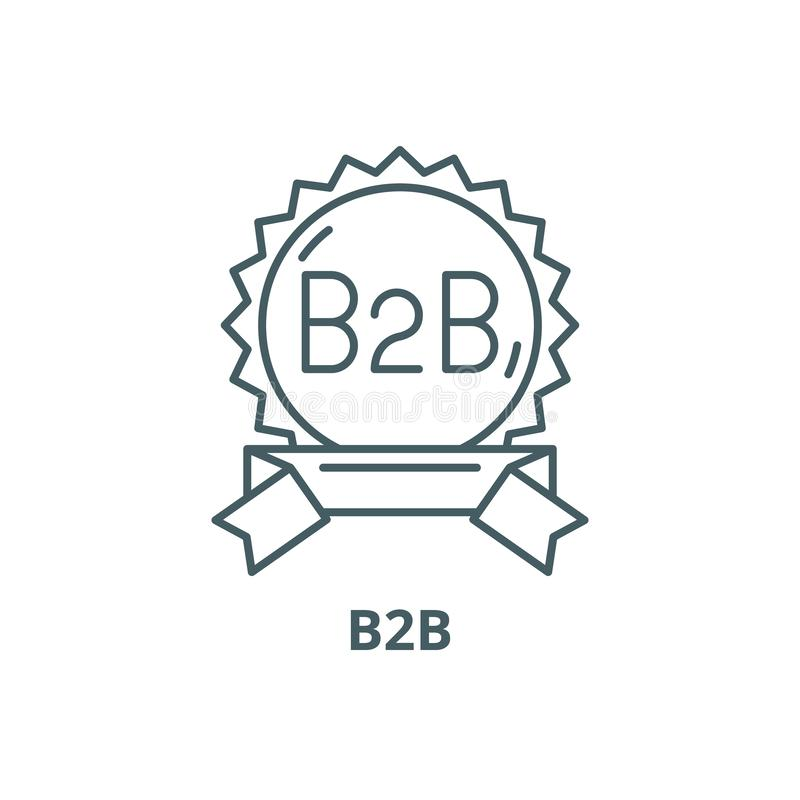 B2b line icon, vector. B2b outline sign, concept symbol, flat illustration royalty free illustration