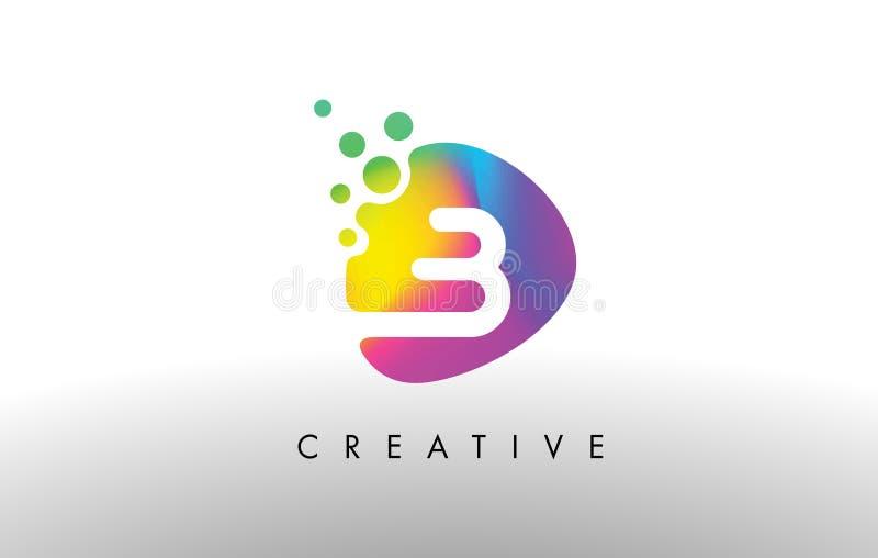 B Logo Design Shape colorido Icono abstracto púrpura de la letra de la forma ilustración del vector