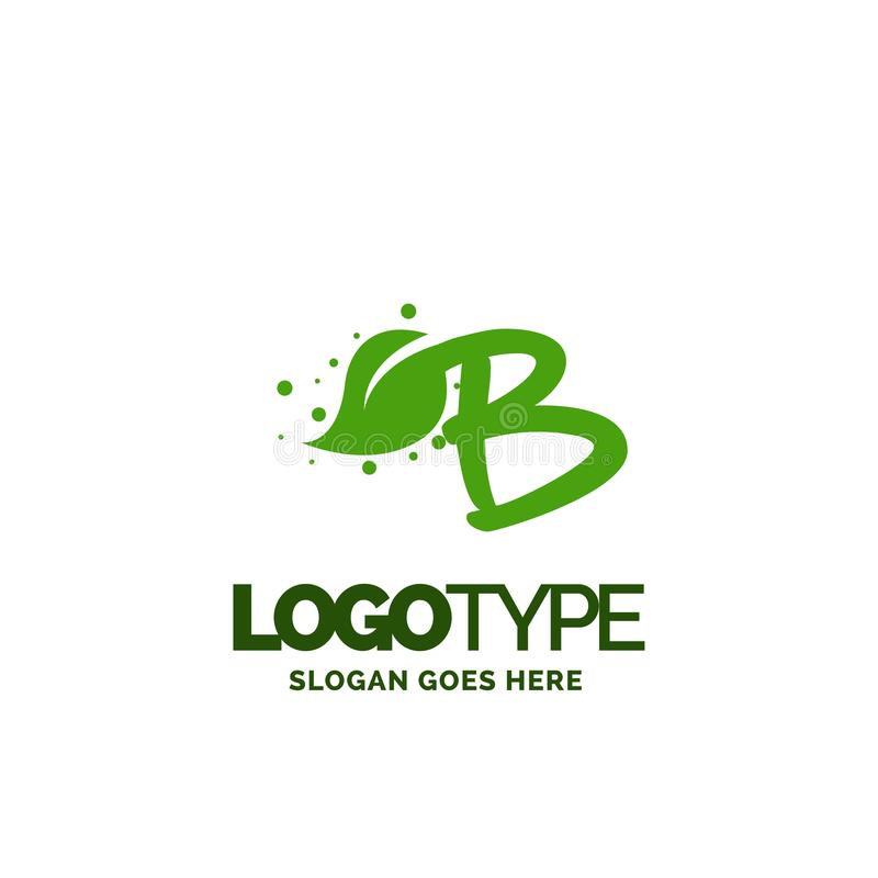 B logo with Leaf Element. Nature Leaf logo designs, Simple leaf. Logo symbol. Natural, eco food. Organic food badges in vector. Vector logos. Natural logos with vector illustration