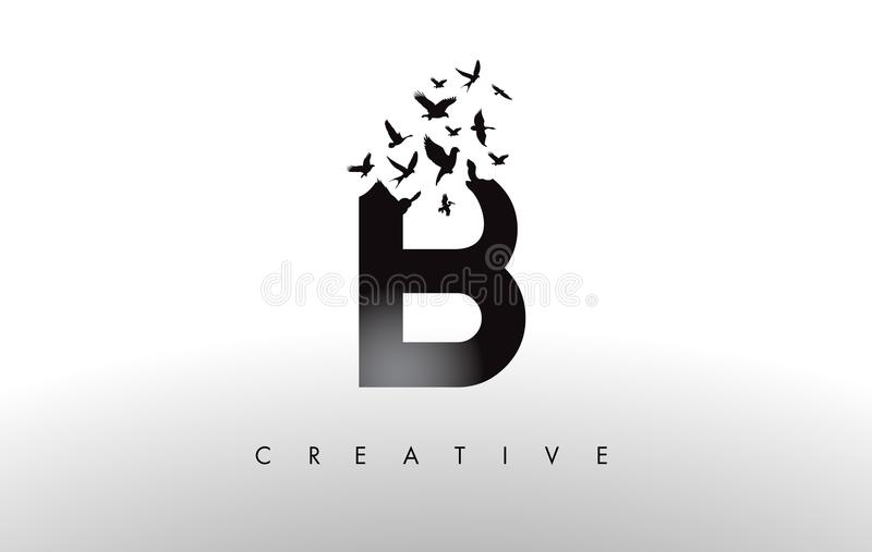 B Logo Letter with Flock of Birds Flying and Disintegrating from royalty free illustration