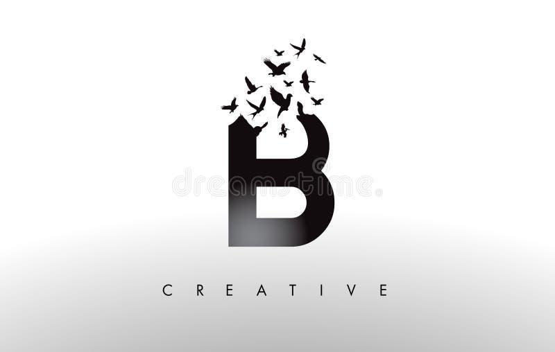 B Logo Letter mit Menge von den Vögeln, die von fliegen und sich auflösen lizenzfreie abbildung