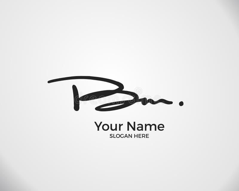 B M BM Initiallogo-Signatur-Vektor Logo für Handschrift lizenzfreie abbildung