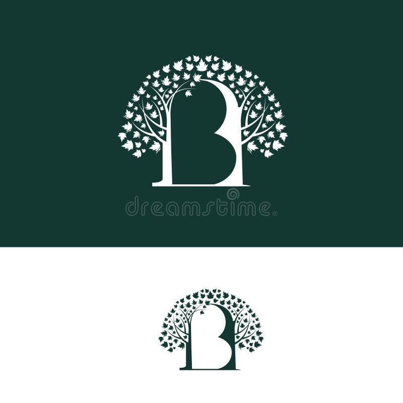 B malplaatje van het het embleemontwerp van de brievenboom het vector Luxemonogram voor boutique, hotel, restaurant, manieropslag royalty-vrije illustratie