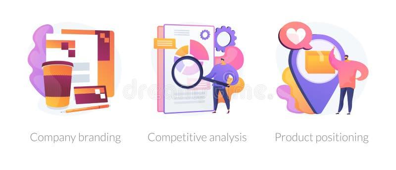 B2B marketing vector concept metaphors. Corporate identity, Business marketing strategy development flat icons set. Company branding, competitive analysis vector illustration