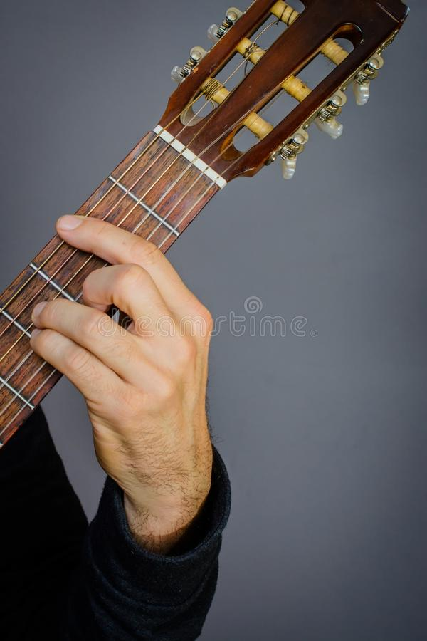 B Minor Chord Played By Guitarist On Classical Acoustic Guitar Stock ...