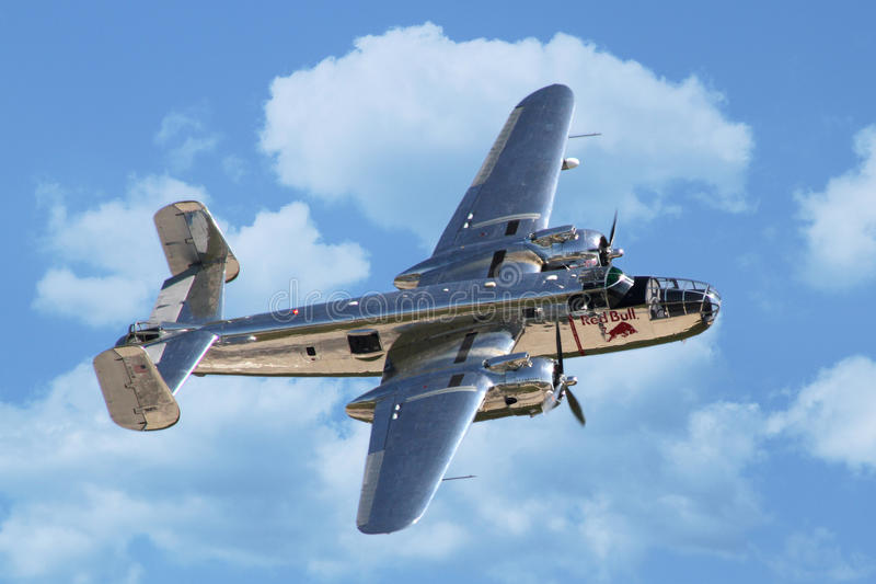 B-25 Mitchell bomber. PARDUBICE, CZECH REPUBLIC - 6 June 2015: B-25 Mitchell bomber aircraf in aviation fair and century air combats, Pardubice, Czech Republic stock photography