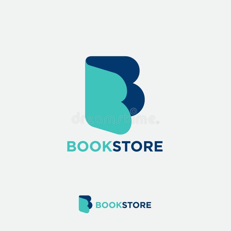 B monogram. Letter B like open book. Online book store. Digital library. stock illustration