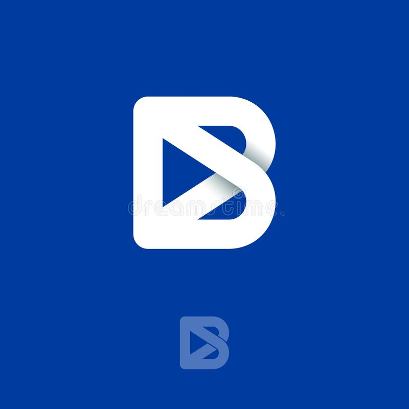 B monogramembleem Origamiembleem De witte brief B bestaat uit verweven lijnen op een donkerblauwe achtergrond vector illustratie