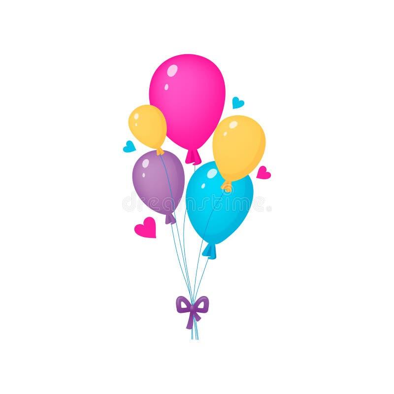 B?ndel bunte Ballone Lustiger Entwurf Celebrative mit den Herzen lokalisiert auf dem weißen Hintergrund Auch im corel abgehobenen lizenzfreie abbildung