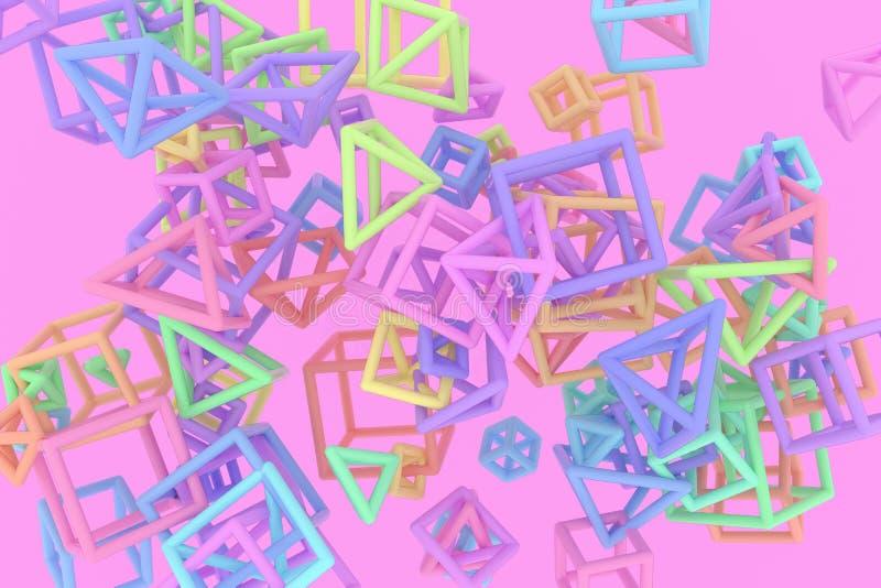 B?ndel des Dreiecks oder des Quadrats, Fliegen, ineinandergegriffen, f?r Entwurfsbeschaffenheit u. Hintergrund Wiedergabe 3d vektor abbildung