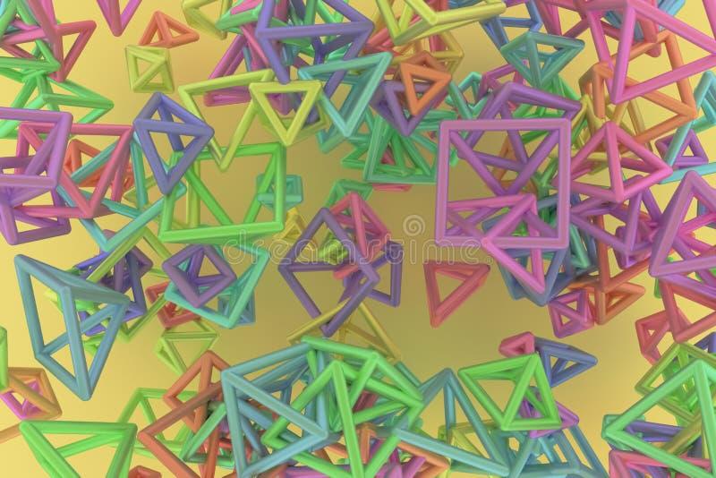 B?ndel des Dreiecks oder des Quadrats, Fliegen, ineinandergegriffen, f?r Entwurfsbeschaffenheit u. Hintergrund Wiedergabe 3d stock abbildung